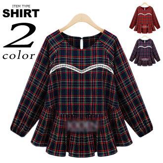格子圖案罩衫式的長袖束腰外衣婦女的上衣縫的 flare 剪影大襯衫工作服名人色楞格韓國