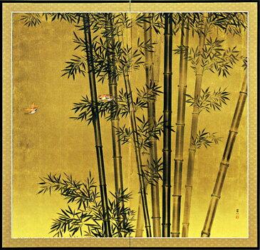 屏風 「竹に雀」松田富一 作