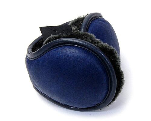 """帽子 """"和(なごみ)""""レザーイヤーマフ<JAPAN BLUE-武州正藍染>【コン..."""