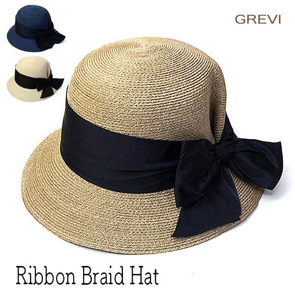 """帽子 イタリア""""GREVI(グレヴィ)"""" リボンブレードハット ハット レディース 春夏 アウトレットSS20"""