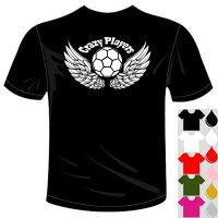 河内國製作所「クレイジープレイヤーズサッカーTシャツ」全5色。ベースボールおもしろTシャツ文字T-shirtおもしろてぃーしゃつ半袖ドライTシャツメール便は送料無料