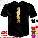 河内國製作所 「唯我独尊Tシャツ」全5色。四文字熟語漢字おもしろTシャツ 文字T-shirt おもしろてぃーしゃつ 半袖ドライTシャツ メール便は送料無料