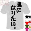 河内國製作所 「風になりたい。Tシャツ」全5色。センテンス系おもしろTシャツ 文字T-shirt おもしろてぃーしゃつ 半袖ドライTシャツ メール便は送料無料