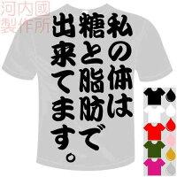 河内國製作所「私の体は糖と脂肪で出来てます。Tシャツ」全5色。おもしろTシャツおもしろてぃしゃつドライTシャツメール便は送料無料