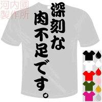 河内國製作所「深刻な肉不足です。Tシャツ」全5色。センテンス系おもしろTシャツおもしろてぃしゃつドライTシャツメール便は送料無料