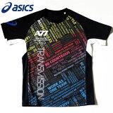 アシックスウェアA77グラフィックTシャツXA6191ブラック×ミッドナイト
