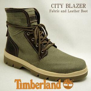 【セール】ティンバーランド メンズ キャンバス レザー ブーツ シティブレーザー ファブリック アンド レザー ブーツ オリーブ A1GG7 Timberland cityblazer boot 送料無料
