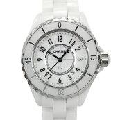 【中古】シャネルJ12H0968ホワイトセラミックステンレススチールクォーツ白文字盤日付表示腕時計CHANEL