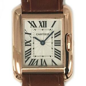 [مستعملة] كارتييه تانك Anglaise K18PG ساعة يد من الجلد الوردي الذهب W5310027 كوارتز من الفضة مينا كارتييه