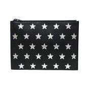 【中古】サンローランiPadライダー397295クラッチバッグタブレットケースマルチケースブラックレザー星柄SAINTLAURENTYSL