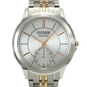 【中古】シチズンエクシードチタンAQ5004-55Aソーラーエコドライブシルバー文字盤腕時計CITIZEN