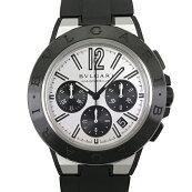 【中古】ブルガリディアゴノマグネシウムDG42SMCCH腕時計クロノグラフラバーブラック自動巻きシルバー文字盤BVLGARI