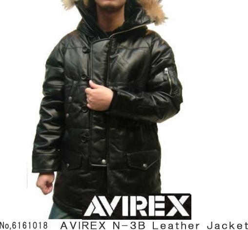 HS メンズダウンジャケット AVIREX N-3B アビレックス N-3B レザーダウンジャケット 6161018 皮ジャン 革ジャン アビレックス アヴィレックス レザージャケット 革ジャケット 皮ジャケット:レザー・ファー専門店 皮の但馬屋