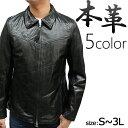 レザージャケット メンズ 革ジャン バッファロー 本皮 ステンカラー ブラック ブラウン ネイビー レッド キャメル S/M/L/LL/3L 7057