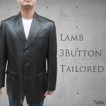 【店内全品送料無料】 高級 レザージャケット メンズ 本革 テーラードジャケット スペインラム 3つボタン Lサイズ ブラック 7686