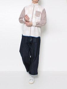 河谷シャツ Lewis (ルイス) カジュアル 長袖シャツ / k2011112 / 全2色 ブラウン ネイビー 全6サイズ XS S M L XL XXL シャツ 長袖 メンズ レディース 男女兼用 / ストライプ 切り替え 水玉 チェック ドット カジュアルシャツ  ワイシャツ ドレスシャツ おしゃれ