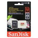 ◇ 【32GB】 SanDisk/サンディスク エクストリーム Extreme microSDHCカード UHS-1対応 Class10(45MB/s) SD変換アダプター付 海外リテール SDSDQXL-032G-G46A ◆メ