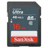 16GB SDHCカード SDカード SanDisk サンディスク UHS-I R:48MB/s 海外リテール SDSDUNB-016G-GN3IN ◆メ