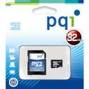 ◇ 【32GB】 PQI microSDHCカード Class4対応/SDHC変換アダプタ付/紙パッケージ BMRSDH4-32G ◆メ