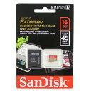 ◇ 【16GB】 SanDisk/サンディスク エクストリーム Extreme microSDHCカード UHS-1対応 Class10(45MB/s) SD変換アダプター付 海外リテール SDSDQXL-016G-G46A ◆メ