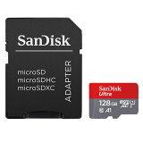 ◇【128GB】 SanDisk サンディスク Ultra microSDXCカード Class10 UHS-I A1 R:100MB/s SD変換アダプター付 海外リテール SDSQUAR-128G-GN6MA ◆メ