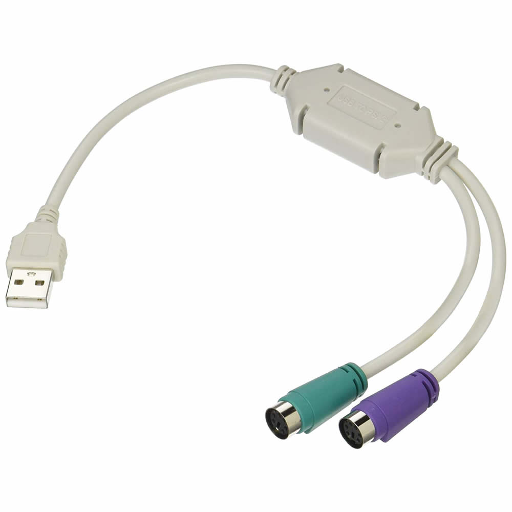 USB-PS2変換ケーブル USB-PS2変換(2分岐) TFTEC 変換名人 PS/2接続キーボードとマウスをUSBに接続 日本語/英語キーボード用 USB-PS2 ◆メ