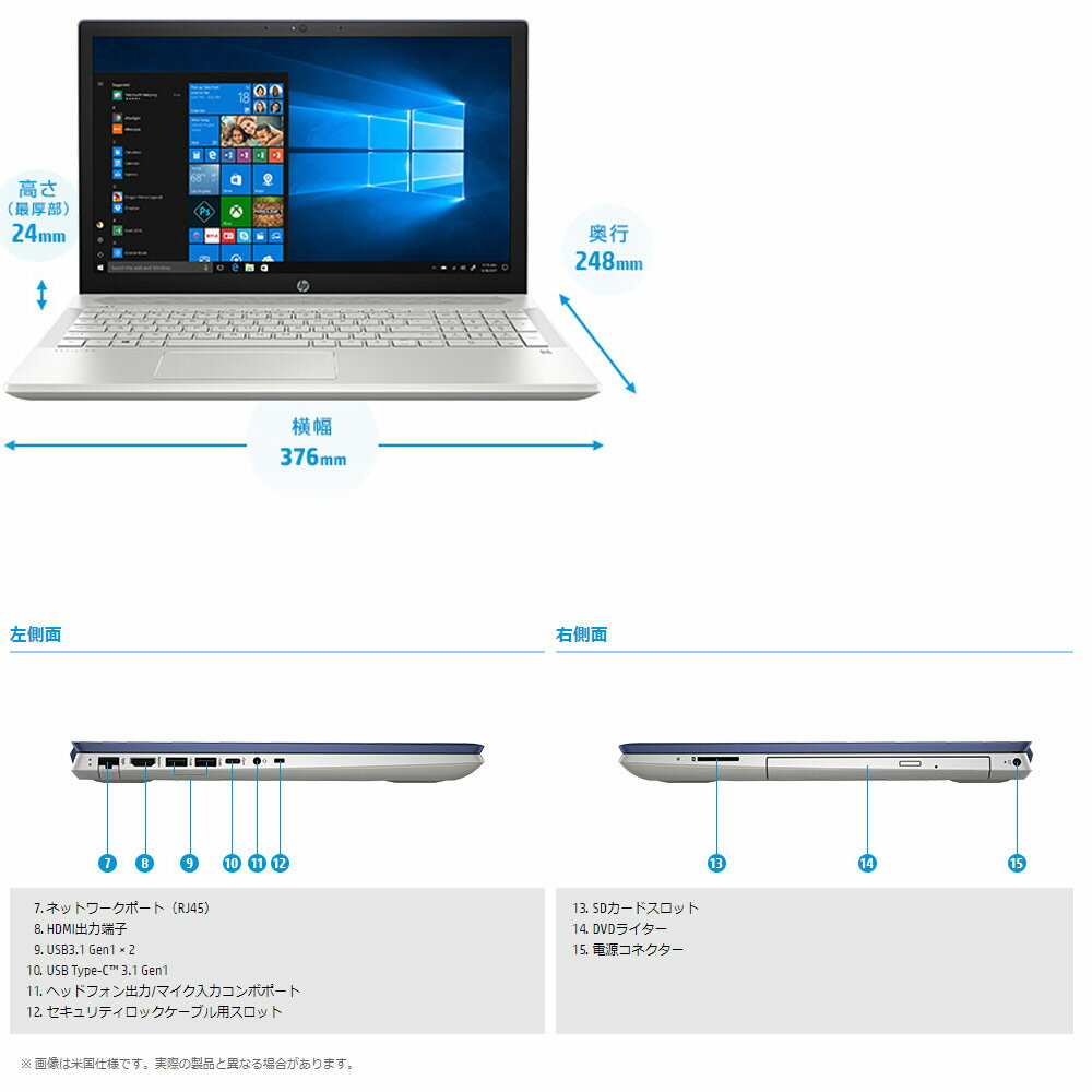 WindowsノートPC15.6インチHPPavilion15-cu1000Win10HomeCorei7-8565URAM16GBSSD128GB+HDD1TB/DVDマルチロイヤルブルー5XN22PA-AAAA◆宅