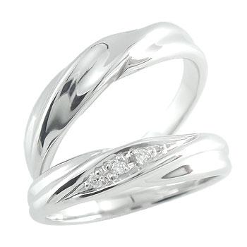 [送料無料]結婚指輪 マリッジリング ペアリング プラチナリング 2本セット ダイヤ ダイヤモンド【楽ギフ_包装】0824カード分割【コンビニ受取対応商品】:かざり屋
