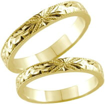 [送料無料]ハワイアンペアリングリング結婚指輪イエローゴールドk18プルメリア花スクロール波結婚記念リングミル打ちミルハワジュ2本セット【_包装】【RCP】