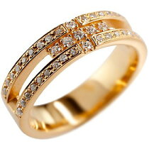 [送料無料]クロスリングダイヤモンドダイヤ幅広指輪ピンキーリングピンクゴールドk18メンズレディース【_包装】