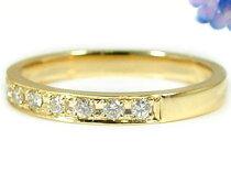 エタニティリングエンゲージリングピンキーリングダイヤモンドリング0.20ct婚約指輪イエローゴールドk18スイート10K18