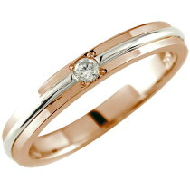エンゲージリング一粒ダイヤモンド婚約指輪ダイヤダイヤモンドリングピンクゴールドK18プラチナ900指輪コンビネーションリング一粒ダイヤ0.03ct
