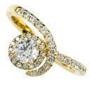 イエローゴールドk18 取り巻き ダイヤモンド 0.30ct ダイヤモンドリング ダイヤ リング エンゲージリング 婚約指輪 指輪 レディース【楽ギフ_包装】【コンビニ受取対応商品】 大きいサイズ対応 送料無料 1