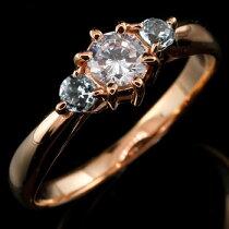 [送料無料]婚約指輪エンゲージリングダイヤモンドリングアクアマリン指輪大粒ダイヤピンクゴールドK1818金ダイヤモンドリング3月誕生石レディース【_包装】