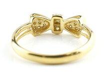 [送料無料]婚約指輪エンゲージリングリボンりぼんリングダイヤモンドリングイエローゴールドk18指輪ダイヤモンドリングピンキーリング18金レディース【_包装】P25Jan15