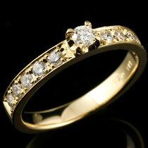 [送料無料]ダイヤモンドイエローゴールドk18ハーフエタニティ18金ダイヤモンドリングレディース【_包装】05P20Sep14