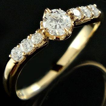 [送料無料] 婚約指輪 エンゲージリング イエローゴールドk18 18金 ダイヤモンドリング レディース【楽ギフ_包装】0824カード分割【コンビニ受取対応商品】:かざり屋