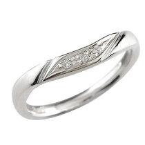 [送料無料]ダイヤモンドリング婚約指輪エンゲージリングホワイトゴールドk18リング指輪ピンキーリングソフトライン【_包装】
