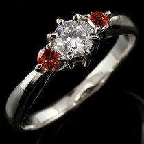[送料無料]プラチナダイヤモンドリングガーネット指輪大粒ダイヤダイヤモンドリング1月誕生石【_包装】