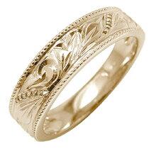 ハワイアンジュエリー指輪ピンクゴールドk18オリジナル手彫りハワイアンリングミル打ちミル