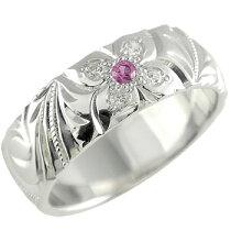 [送料無料]ハワイアンジュエリーピンクトルマリンダイヤモンドシルバーリング指輪幅広10月誕生石ハワジュ【_包装】