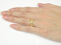 [送料無料]ハワイアンジュエリーハワイアンペアリングリング結婚指輪マリッジリングイエローゴールドk18ミル打ち幅広透かし幅広結婚記念リングハワジュ2本セット地金リング宝石なし【_包装】【RCP】
