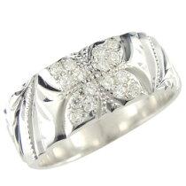 ハワイアンリングダイヤモンド幅広指輪ダイヤ0.16ctホワイトゴールドk18