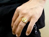 [送料無料]メンズジュエリープラチナPT900イエローゴールドk1818金コンビリング印台リング幅広指輪ユリの紋章ピンキーリング男性用地金リング宝石なし百合フルール・ド・リス18k18金【_包装】
