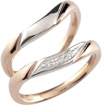 [送料無料]ペアリング;結婚指輪マリッジリングダイヤダイヤモンドピンクゴールドk18プラチナコンビネーションコンビデザインハンドメイドソフトライン2本セット【_包装】