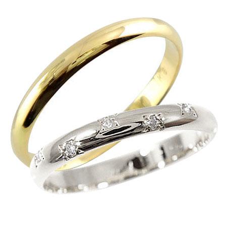 [送料無料]結婚指輪 マリッジリング ペアリング ホワイトゴールドk18 イエローゴールドk18ダイヤ ダイヤモンド 指輪 2本セット 甲丸18k 18金【楽ギフ_包装】0824カード分割【コンビニ受取対応商品】:かざり屋