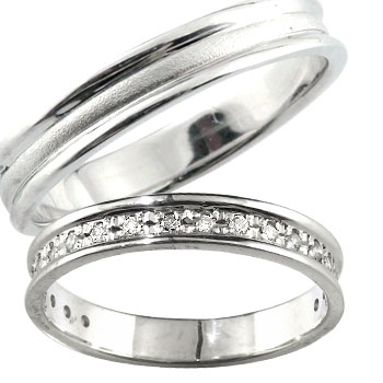 [送料無料]ペアリング ダイヤモンド ダイヤ ホワイトゴールドk18 マリッジリング 結婚指輪 2本セット18k 18金【楽ギフ_包装】0824カード分割【コンビニ受取対応商品】:かざり屋