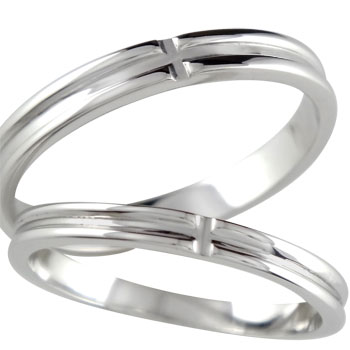 [送料無料]結婚記念リング 結婚指輪 マリッジリング ペアリング クロス ホワイトゴールドK18 2本セット【楽ギフ_包装】0824カード分割【コンビニ受取対応商品】:かざり屋