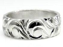 ハワイアンペアリング結婚指輪シルバー925結婚記念リングsv925ハワイアンジュエリー2本セットミル打ち