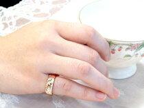 ハワイアンペアリング結婚指輪ピンクゴールドk18結婚記念リングk18PGハワイアンジュエリー2本セットミル打ち